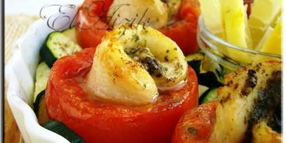 דג סול אפוי בעגבניה עם צוקיני